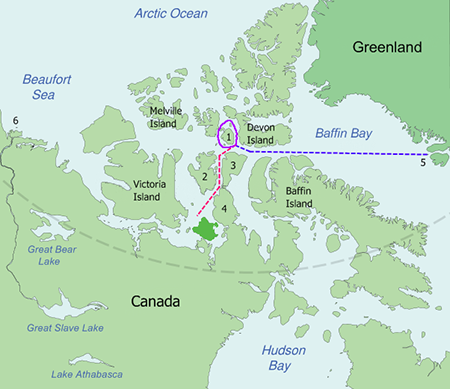 Franklin's expedition map